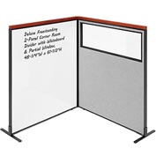Interion Deluxe Freestanding 2-Panel Corner w/ Whiteboard & Partial Window 48-1/4W x61-1/2H Gray