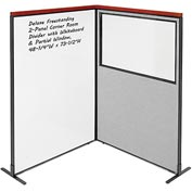 Interion Deluxe Freestanding 2-Panel Corner w/ Whiteboard & Partial Window 48-1/4W x73-1/2H Gray