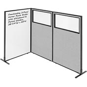 "Interion™ 3-Panel Corner Room Divider with Whiteboard & Partial Window, 36-1/4""W x 60""H, Gray"
