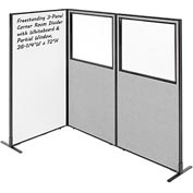 "Interion™ 3-Panel Corner Room Divider with Whiteboard & Partial Window, 36-1/4""W x 72""H, Gray"