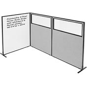 "Interion™ 3-Panel Corner Room Divider with Whiteboard & Partial Window, 48-1/4""W x 60""H, Gray"