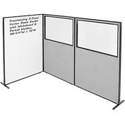 "Interion™ 3-Panel Corner Room Divider with Whiteboard & Partial Window, 48-1/4""W x 72""H, Gray"