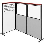 Deluxe Freestanding 3-Panel Corner w/ Whiteboard & Partial Window 36-1/4W x73-1/2H Gray