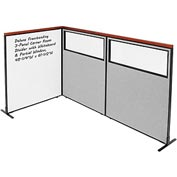 Interion Deluxe Freestanding 3-Panel Corner w/ Whiteboard & Partial Window 48-1/4W x61-1/2H Gray