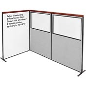 Deluxe Freestanding 3-Panel Corner w/ Whiteboard & Partial Window 48-1/4W x73-1/2H Gray