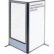 "Freestanding 2-Panel Corner Room Divider - Whiteboard & Full Window, 36-1/4""W x 72""H, Blue"