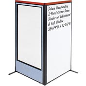 "Interion Deluxe Freestanding 2-Panel Corner w/ Whiteboard & Full Window 36-1/4""W x 73-1/2""H Blue"