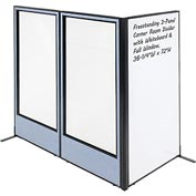 "Interion Freestanding 3-Panel Corner Room Divider - Whiteboard & Full Window, 36-1/4""W x 72""H, Blue"