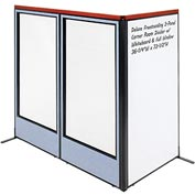 "Interion Deluxe Freestanding 3-Panel Corner w/ Whiteboard & Full Window 36-1/4""W x 73-1/2""H Blue"