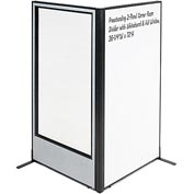 "Freestanding 2-Panel Corner Room Divider - Whiteboard & Full Window, 36-1/4""W x 72""H, Gray"