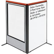 "Interion Deluxe Freestanding 2-Panel Corner w/ Whiteboard & Full Window 36-1/4""W x 61-1/2""H Gray"