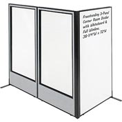 "Freestanding 3-Panel Corner Room Divider - Whiteboard & Full Window, 36-1/4""W x 72""H, Gray"