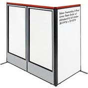 "Deluxe Freestanding 3-Panel Corner w/ Whiteboard & Full Window 36-1/4""W x 73-1/2""H Gray"