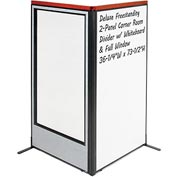 "Interion Deluxe Freestanding 2-Panel Corner w/ Whiteboard & Full Window 36-1/4""W x 73-1/2""H Gray"