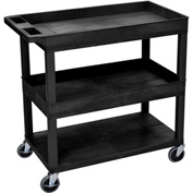 Luxor® EC112-B Black 2-Tub 1-Flat Shelf Cart 35-1/4 x 18 400 Lb. Cap.