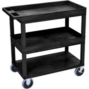 Luxor® EC112HD-B Black 2-Tub 1-Flat Shelf Cart 35-1/4 x 18 500 Lb. Cap.