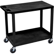 Luxor® EC21-B Black 1-Tub 1-Flat Shelf Cart 35-1/4 x 18 400 Lb. Cap.