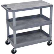 Luxor® EC211-G Gray 2-Tub 1-Flat Shelf Cart 35-1/4 x 18 400 Lb. Cap.