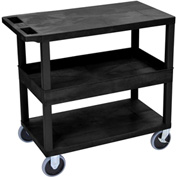 Luxor® EC212HD-B Black 2-Flat 1-Tub Shelf Cart 35-1/4 x 18 500 Lb. Cap.