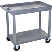 Luxor® EC12HD-G Gray 1-Tub 1-Flat Shelf Cart 35-1/4 x 18 500 Lb. Cap.
