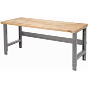 "72""W X 30""D Square Edge Birch Butcher Block Work Bench - Adjustable Height - Gray"