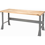 "96""W X 36""D Square Edge Birch Butcher Block Work Bench - Fixed Height - Gray"