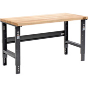 "60""W X 30""D Square Edge Birch Butcher Block Work Bench - Adjustable Height - Black"