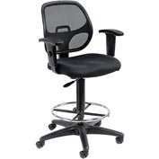 Mesh Back Drafting Stool - Fabric - Black
