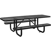 "96"" ADA Expanded Metal Picnic Table, Black"