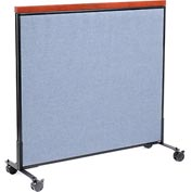 "Interion™ Mobile Deluxe Office Cubicle Partition Panel, 48-1/4""W x 46-1/2""H, Blue"