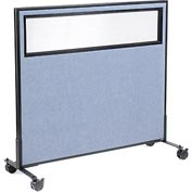 "Interion™ Mobile Office Cubicle Partition Panel with Partial Window, 48-1/4""W x 45""H, Blue"