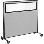 "Interion™ Mobile Office Partition Panel with Partial Window, 48-1/4""W x 45""H, Gray"