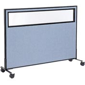 "Interion™ Mobile Office Cubicle Partition Panel with Partial Window, 60-1/4""W x 45""H, Blue"