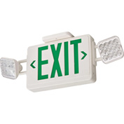 Lithoinia ECG LED HO Combo Exit Sign, Green Letters, High Output
