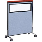 "Interion™ Mobile Deluxe Office Partition Panel with Partial Window, 36-1/4""W x 46-1/2""H, Blue"