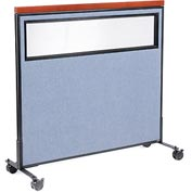 "Interion™ Mobile Deluxe Office Cubicle Panel with Partial Window, 48-1/4""W x 46-1/2""H, Blue"