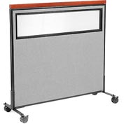 "Interion™ Mobile Deluxe Office Cubicle Panel with Partial Window, 48-1/4""W x 46-1/2""H, Gray"