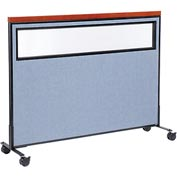 "Interion™ Mobile Deluxe Office Cubicle Panel with Partial Window, 60-1/4""W x 46-1/2""H, Blue"