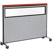 "Interion™ Mobile Deluxe Office Cubicle Panel with Partial Window, 60-1/4""W x 46-1/2""H, Gray"
