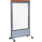 "Interion™ Mobile Deluxe Office Cubicle Panel with Full Window, 36-1/4""W x 76-1/2""H, Blue"