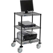 "Nexel™ 3-Shelf Mobile Wire Printer Stand, 24""W x 18""D x 39""H, Black"