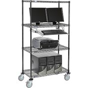 "4-Shelf Mobile Computer LANstation, Sliding Keyboard Tray, 5"" Casters 2 Locking 75""Hx18""Wx36""L Black"