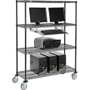 "4-Shelf Mobile Computer LANstation, Sliding Keyboard Tray, 5"" Casters 2 Locking 75""Hx18""Wx48""L Black"