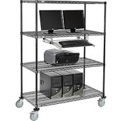 "Nexel™ 4-Shelf Mobile Wire Computer LAN Workstation w/ Keyboard Tray, 48""W x 24""D x 69""H, Black"