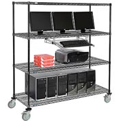 "4-Shelf Mobile Computer LANstation, Sliding Keyboard Tray, 5"" Casters 2 Locking 75""Hx24""Wx60""L Black"