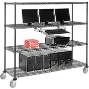 "4-Shelf Mobile Computer LANstation, Sliding Keyboard Tray, 5"" Casters 2 Locking 75""Hx24""Wx72""L Black"