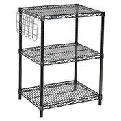 "Nexel™ Black Wire Shelf Printer Stand with Document Holder, 3-Shelf, 24""W x 18""D x 34""H"