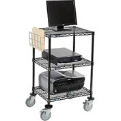 "Nexel™ 3-Shelf Mobile Wire Printer Stand with Document Holder, 24""W x 18""D x 40""H, Black"