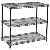 "Nexel™ Black Wire Shelf Printer Stand, 3-Shelf, 36""W x 18""D x 34""H"
