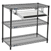"Nexel™ Black Wire Shelf Printer Stand with Keyboard Tray, 3-Shelf, 36""W x 18""D x 34""H"